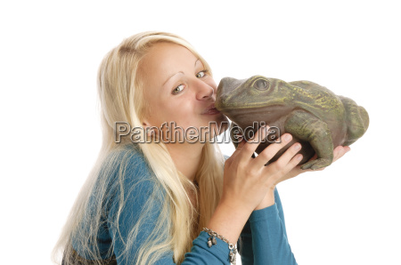 sexy blond teenage girl with frog