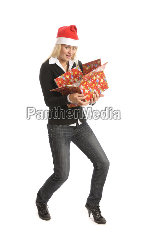 young woman with presents christmas