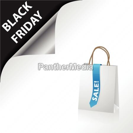 schwarzer freitag werbung mit einkaufstasche