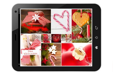tablet pc mit weihnachts collage