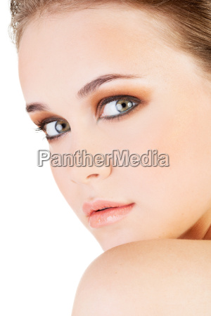 attractive young womans face closeup