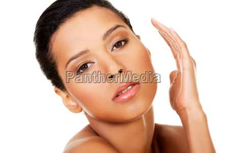 attractive naked woman closeup on face