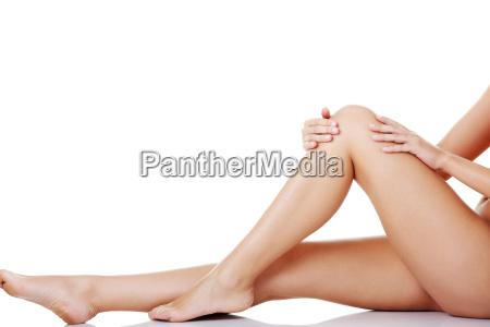 bare females legs horizontal view