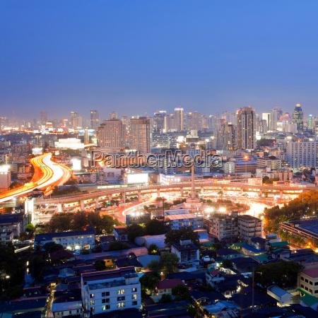 thailand bangkok skyline staedtisch geschaeftsviertel oberirdisch