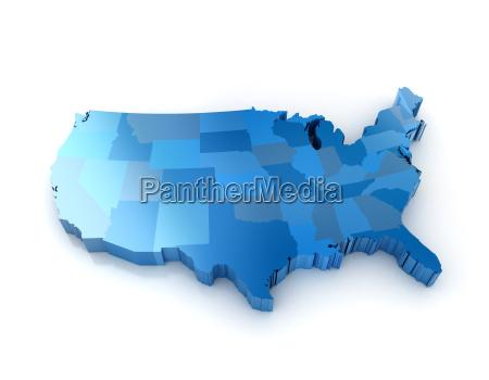 3d karte der vereinigten staaten von