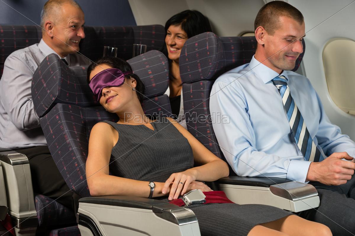 geschäftsfrauschlaf, während, der, flugflugzeugkabine - 10269333