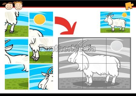 cartoon goat jigsaw puzzle game