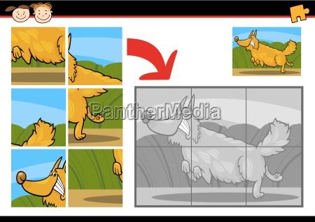 cartoon hund puzzle spiel