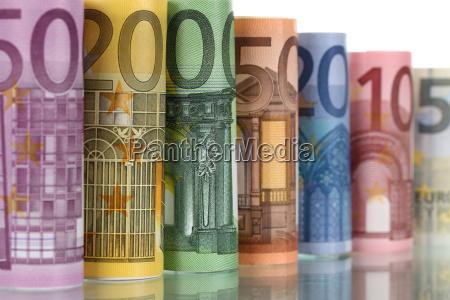 euro scheine mit spiegelung