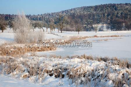 idyllic winter landscape in thuringia