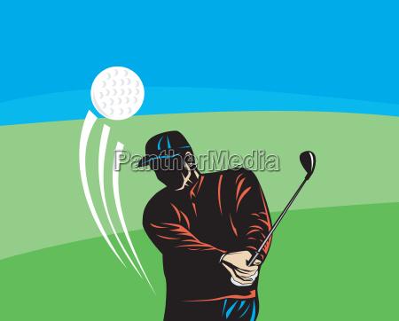 golfer swinging club retro