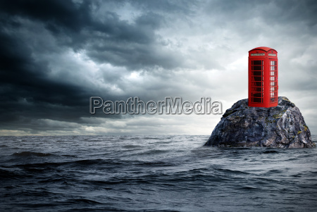 rote, telefonzelle, einsam, im, ozean - 10304005
