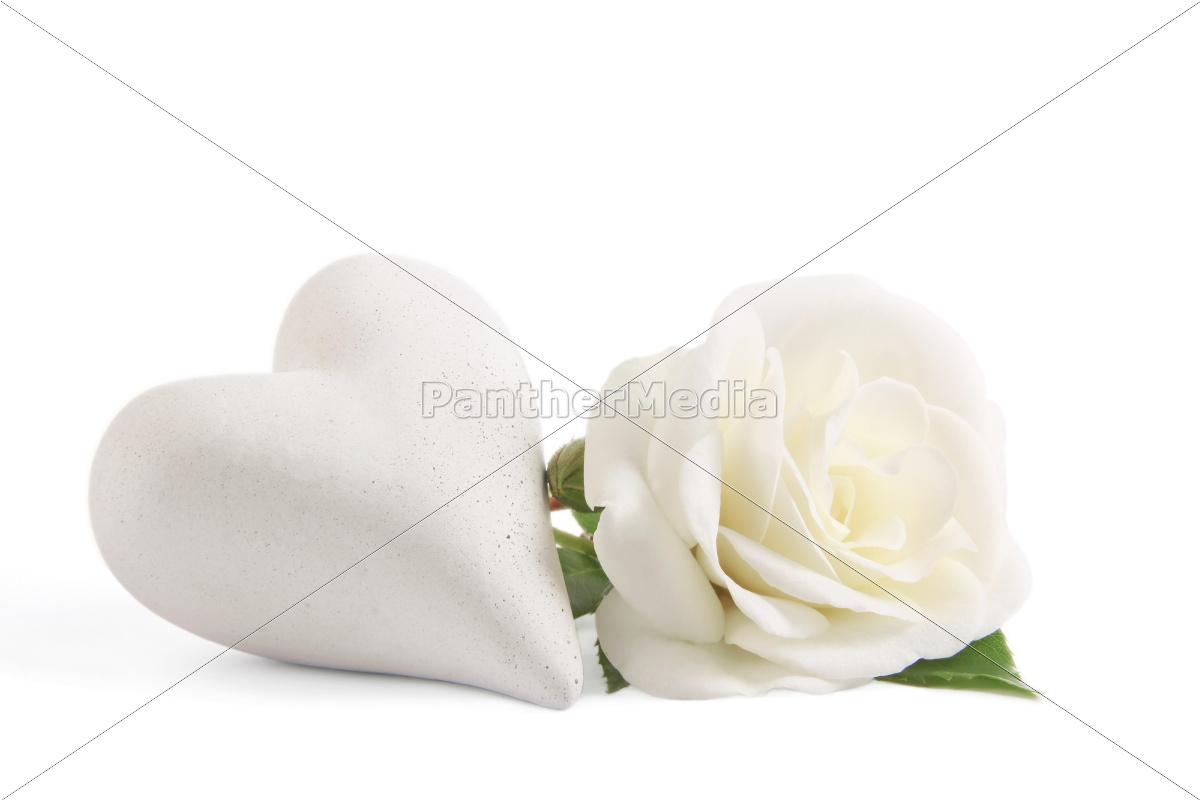 wei e rose mit herz lizenzfreies bild 10306387 bildagentur panthermedia. Black Bedroom Furniture Sets. Home Design Ideas