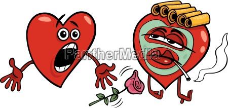 two hearts cartoon illustration