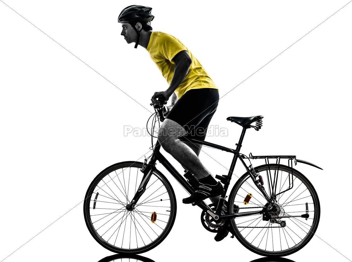 mann, radfahren, mountainbike, silhouette - 10335057