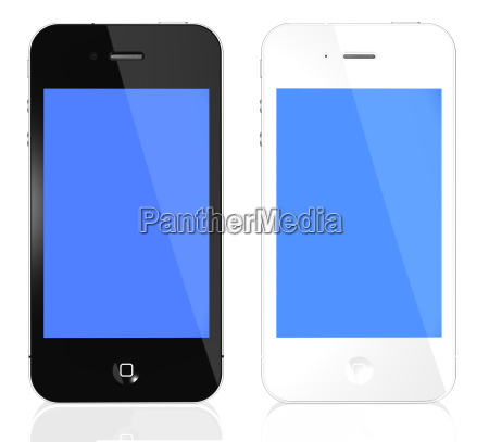 black and white phones with blue