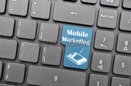 mobile marketing on keyboard