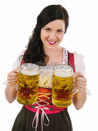 beautiful woman serving oktoberfest beer