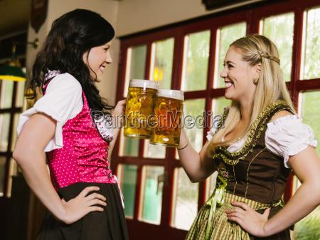 drinking beer at oktoberfest