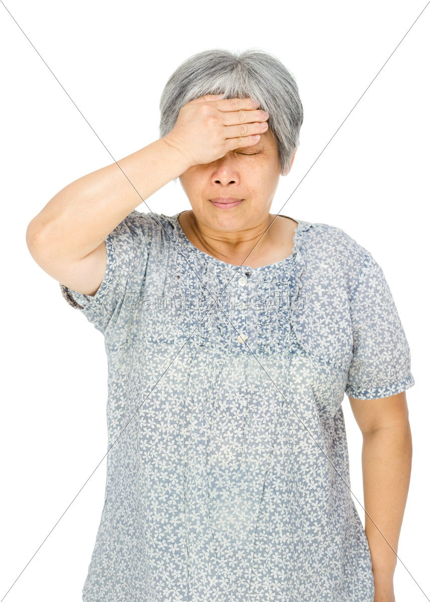 ältere, asiatische, frau, fühle, mich, krank - 10467343
