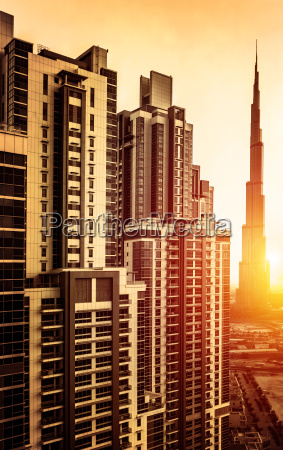 dubai downtown in sunset