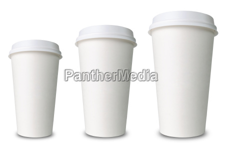 three different sized paper cups against