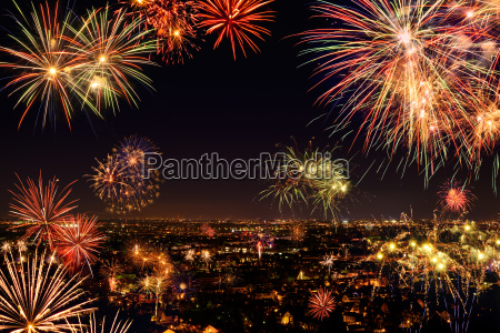 atmospheric fireworks over the city