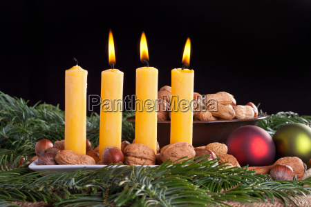 advent third three candle burn flame