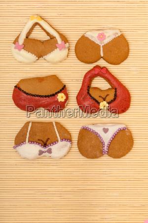 lustige bunte bikini form lebkuchen kekse