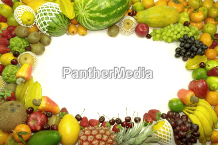 fruits over white