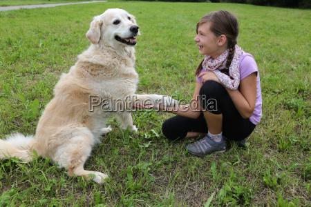 hund gibt einem maedchen die pfote