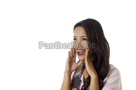 conceptual shot of asian girl screeming