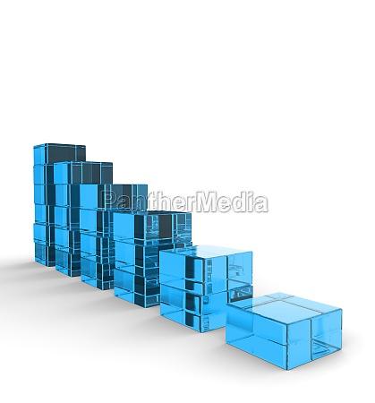 3d glas bausteine abwaertstrend blau