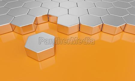 sechseck baustein konzept silber orange