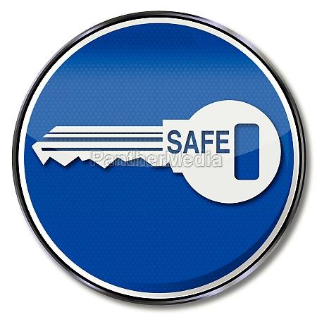 shield door lock key safe and