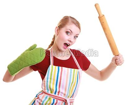 lustige hausfraukueche ofenhandschuh aufkleber mit nudelholz
