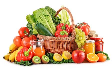 komposition, mit, verschiedenen, bio-gemüse, und, früchte - 10610103