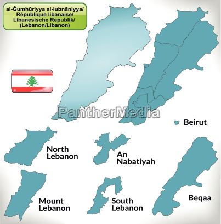 grenzkarte von libanon mit grenzen in