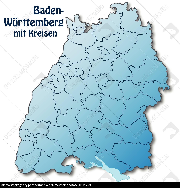 Baden Württemberg Karte.Lizenzfreie Vektorgrafik 10611259 Karte Von Baden Wuerttemberg Mit Grenzen In Blau