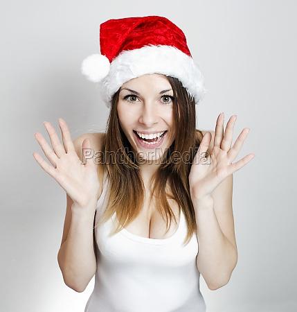 amazed christmas girl