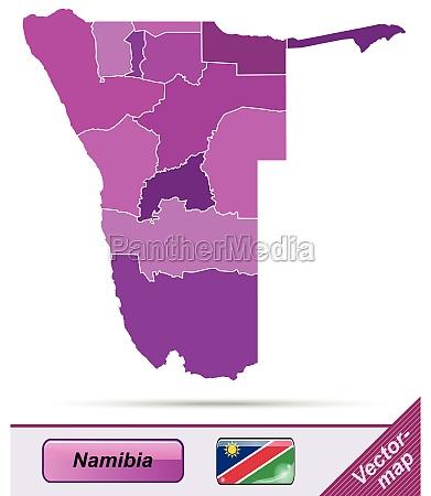 grenzkarte von namibia mit grenzen in