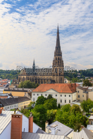 linz cityscape with new cathedral austria
