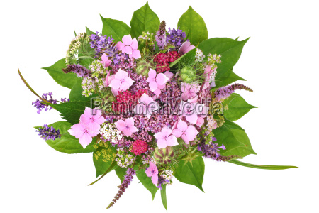 bouquet with hydrangea and flowering herbs