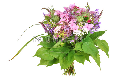 bunch of flowers with herbs hydrangea