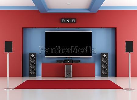 quarto vermelho e azul cinema em