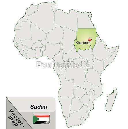 inselkarte von sudan mit hauptstaedten in