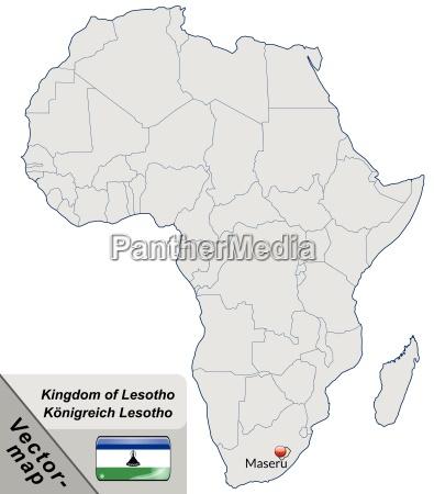 inselkarte von lesotho mit hauptstaedten in