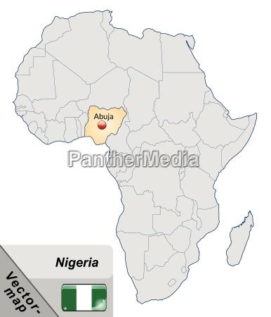 inselkarte von nigeria mit hauptstaedten in