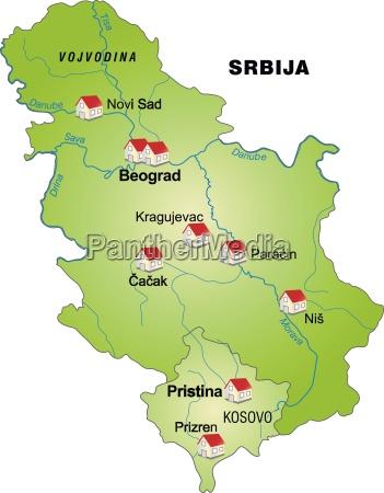 karte von serbien als infografik in