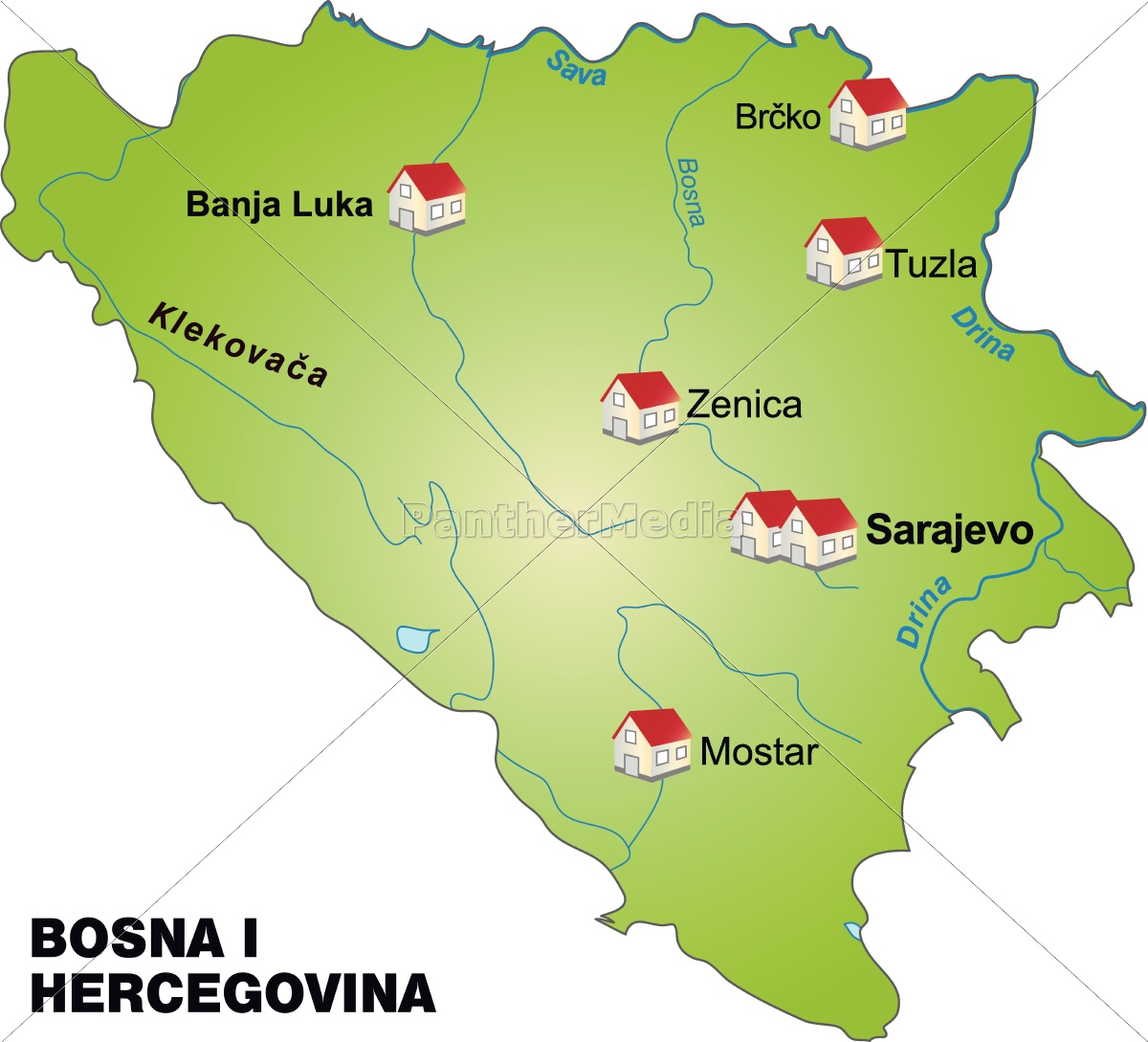 bosnien karte karte von bosnien herzegowina als infografik in grün